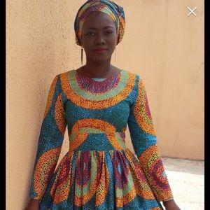 African clothing for women Ankara midi long sleeve